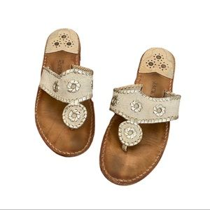 Jack Rogers Whipstitch Leather Thong Sandals